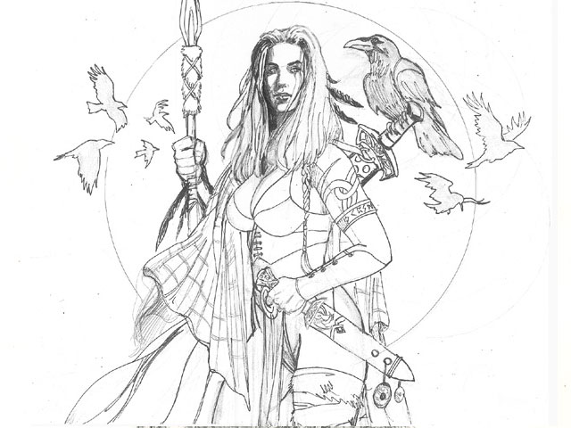 «Celtic warrioress» step by step