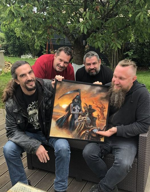 Athabas, shooting with «The Undertaker» painting»